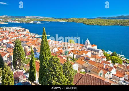 UNESCO town of Sibenik historic waterfront, Dalmatia, Croatia - Stock Image