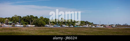 Line of Fishing boats in Darien, Georgia - Stock Image