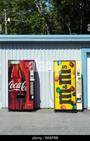 Two vending machines at a campground in USA. - Stock Image
