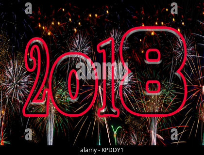 Fireworks bold red numbers 2018 New Years Eve concept exploding bursting fire works celebration ratio for A5 and - Stock Image