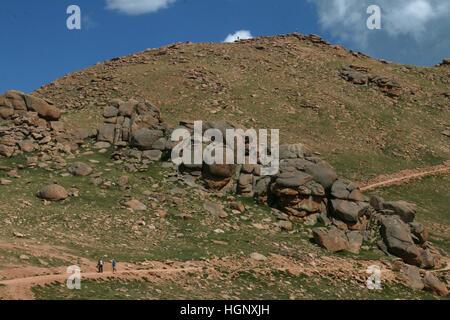 Hiker on trail Peak Rocky Mountain National Park ridge Colorado - Stock Image