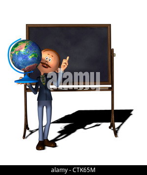 cartoon figure teacher with board and globe - Stock Image