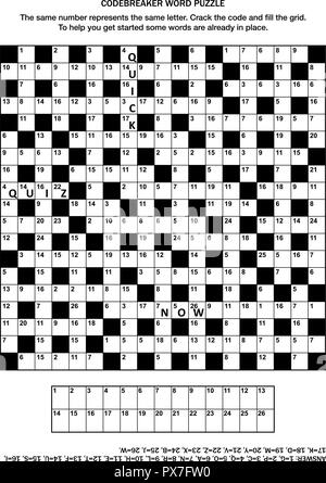 Puzzle page with codebreaker (codeword, code cracker) word game or crossword puzzle - Stock Image