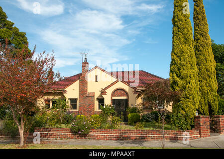 House in the 1934 A.V. Jennings Beauville Estate, one of the first major developments of its type, in Murrumbeena, Melbourne - Stock Image