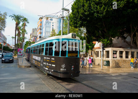 Historic tram, Ataturk Caddesi, main boulevard, Antalya, Turkey - Stock Image