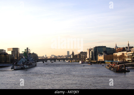River Thames skyline London view from Tower Bridge 2007 - Stock Image