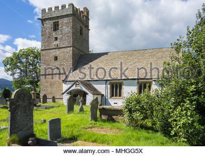 St Bartholomew's Church, Llanover, Monmouthshire, Wales, UK – dating from the 12th century, the Church in Wales church has a 14th century tower. - Stock Image