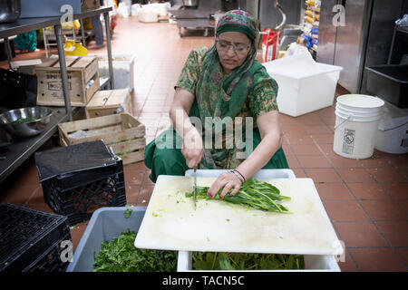 A middle aged Sikh woman in traditional ethnic clothing volunteers and cuts vegetables to be served in the temple's langar (dining hall). In Queens,NY - Stock Image