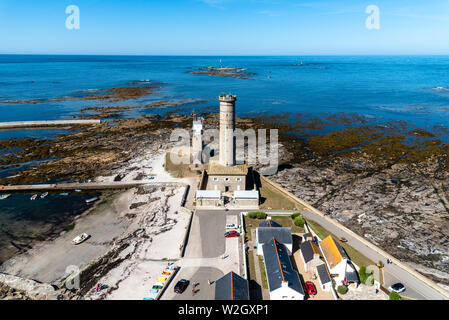 Penmarch, France - August 2, 2018: Eckmuhl Lighthouse in the Point Penmarch, high angle view - Stock Image