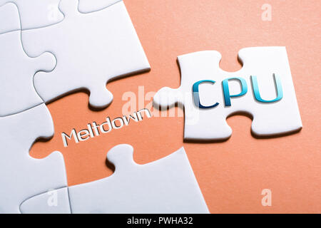 The Words CPU And Meltdown In Missing Piece Jigsaw Puzzle - Stock Image