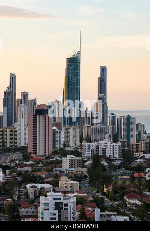 Surfers Paradise skyline at sunset in Australia's Gold Coast. - Stock Image