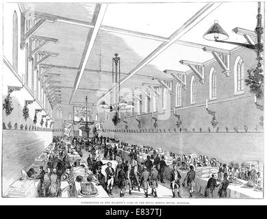 Distribution of her majesty's Alms Royal Riding house Windsor 1844 - Stock Image