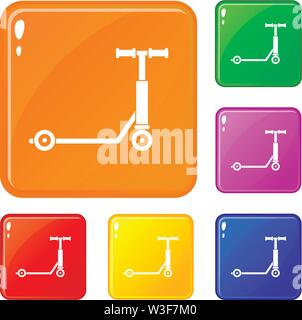 Scooter icons set vector color - Stock Image