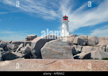 Peggy's Cove Lighthouse standing Guard, Nova Scotia, Canada - Stock Image