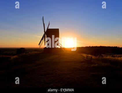 sun set  at brill windmill buckinghamshire england - Stock Image