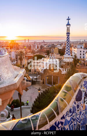 Sunrise at Park Guell, Barcelona, Catalonia, Spain - Stock Image