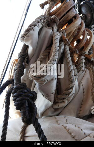 Detail of the rigging of a tall ship. - Stock Image