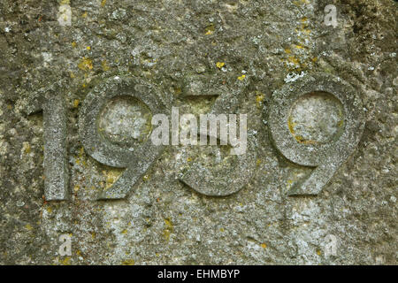 Year 1939 carved in the stone. The years of World War II. - Stock Image