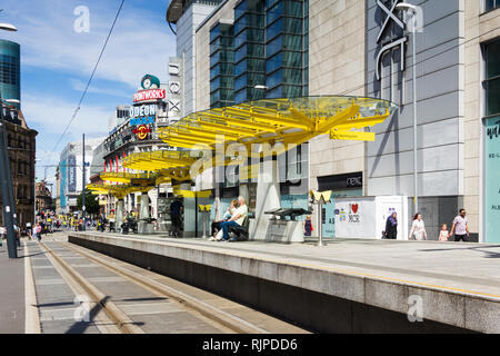 Exchange Square Manchester Metrolink station on Corporation Street in in Manchester city centre. - Stock Image