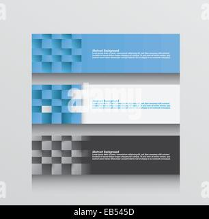 Three abstract background vectors in blue grey and white - Stock Image