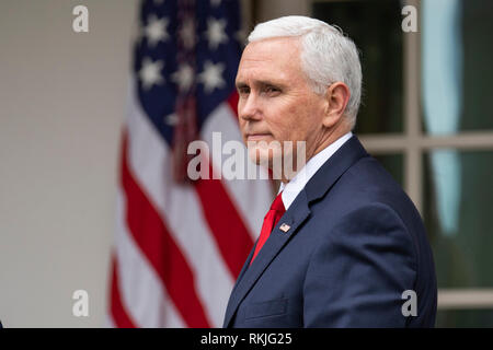 US Vice President Mike Pence looks on as US President Donald Trump speaks to reporters in the Rose Garden of the White House on January 4, 2019. - Stock Image