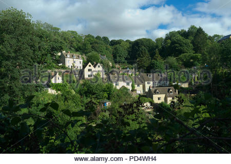 Hillside homes just outside the Cotswold town of Nailsworth in Gloucestershire, UK. - Stock Image