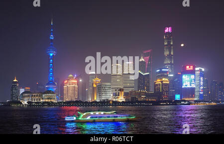 Shanghai Waterfront at Night - Stock Image
