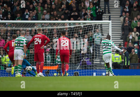 Hampden Park, Glasgow, UK. 14th Apr, 2019. Scottish Cup football, semi final, Aberdeen versus Celtic; Odsonne Edouard of Celtic scores for 2-0 from a penalty kick in the 62nd minute Credit: Action Plus Sports/Alamy Live News - Stock Image