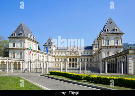 TURIN, ITALY - MARCH 31, 2019: Valentino castle in a sunny day, clear blue sky in Piedmont, Turin, Italy. - Stock Image