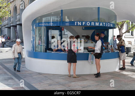 Information booth or kiosk in Forrest Chase, a pedestrian precinct in the city centre of Perth, Western Australia. - Stock Image