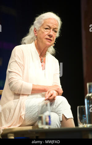 Peace activist Priscilla Scilla Elworthy speaking on stage at Hay Festival 2018 Hay-on-Wye Powys Wales UK - Stock Image