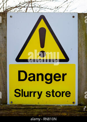 Warning sign or notice on a North Yorkshire Farm Danger Slurry Store - Stock Image