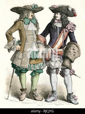 Two French men in costume - nobleman and officer. - Stock Image