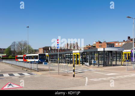Bus station, opened in 2015, in the town of Leigh, formerly part ofthe historic county of Lancashire, now part of - Stock Image