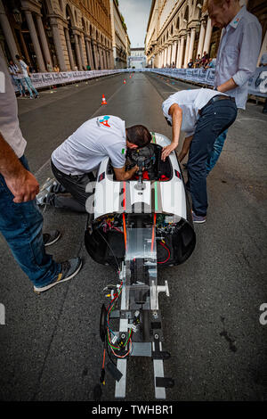 Turin, Italy. 20th Jun 2019. Turin Auto Show 2019 - The Polytechnic of Turin in dynamic action with the IDRAkronos - the team H2politO last adjustments before starting the car Credit: Realy Easy Star/Alamy Live News - Stock Image