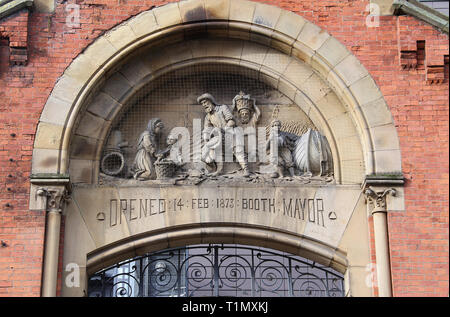 Stone relief at the former wholesale fish market complex in Manchester - Stock Image