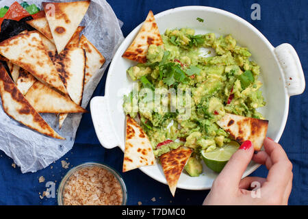 Guacamole with Tortilla Chips and Smoked Sea Salt - Stock Image