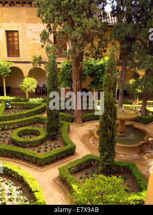 Palace gardens in Alhambra - Stock Image