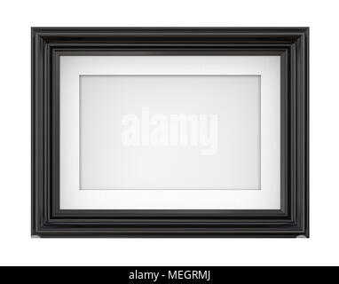 3D render of Vintage Black Frame with passe-partout. Blank for Copy Space. Isolated. - Stock Image