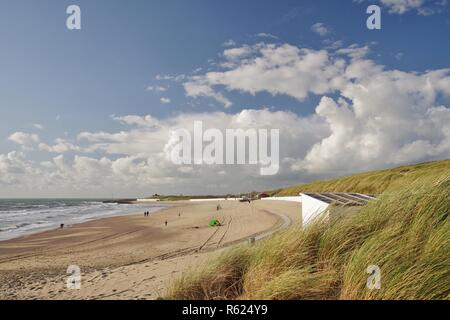 dike,dunes,beach and north sea at westkapelle,walcheren,zeeland,southern netherlands - Stock Image