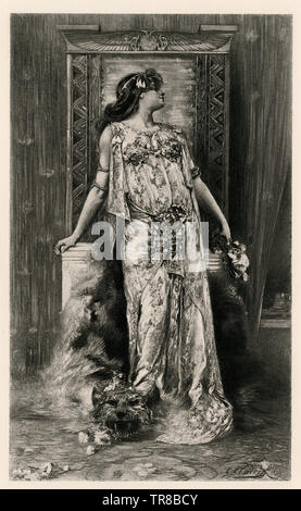 Sarah Bernhardt in the role of Cleopatra, Paris, 1890.  Photogravure - Stock Image