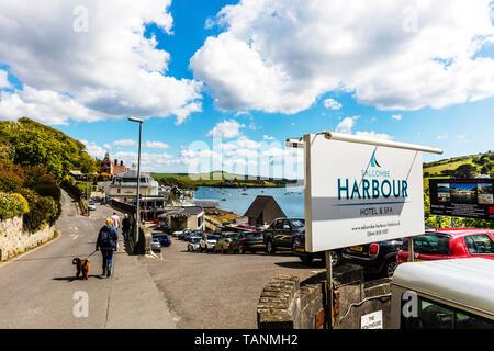 Salcombe Harbour hotel & Spa, Salcombe, Devon, UK, England, Salcombe hotel, Salcombe hotels, Salcombe, Devon, hotel, hotels, spa, spas, sign, signs, - Stock Image