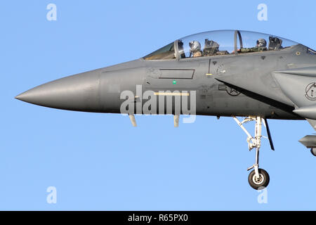 Close up of the nose of a USAF F-15E Strike Eagle at RAF Lakenheath. A green star shows this aircraft is credited with a Iranian drone kill from 2017. - Stock Image