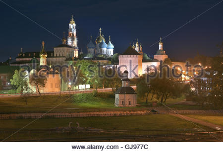 Night panorama of the Cathedral of the Holy Trinity St. Sergius Lavra. The Shrine of all Christians. - Stock Image