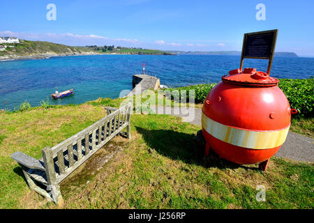 View of the harbour at the seaside holiday resort of Portscatho on the Roseland Peninsula, Cornwall, England, UK - Stock Image