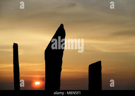 Standing Stones of Stenness, Orkney. 5m high prehistoric megaliths stone circle henge monument. originally of up - Stock Image