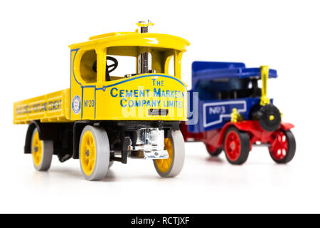 Matchbox Models of Yesteryear Foden and Atkinson Steam Wagons, front view - Stock Image