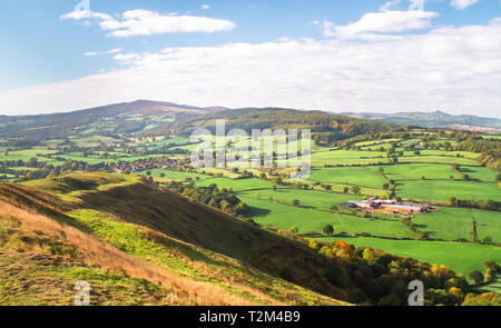 Expansive farmland as seen from Pontesford Hill in Shropshire, England. - Stock Image
