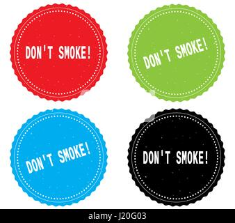 DON'T SMOKE_1 text, on round wavy border stamp badge, in color set. - Stock Image