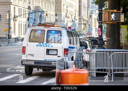 New York, USA - July 01, 2018: NYPD vehicle parked by the Central Park West entrance. - Stock Image
